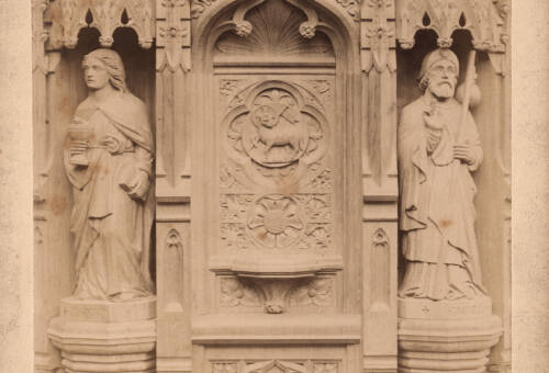 Panel of carved oak pulpit, Bratton Clovelly Church, c1885, Bratton Clovelly