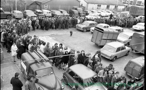 Queues at Edgar Street Hereford for Newcastle FA Cup tickets in Jan 1972.