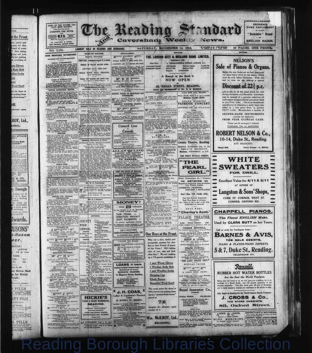 Reading Standard, Saturday, November 14,  1914. Pg 1