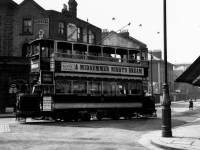 Tram at Broadway corner, near Latimer Road