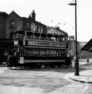 Tram at Broadway corner, near Latimer Road