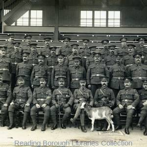 Sergeants and Regimental Pet Goat, National Reserve Prison Guard, Newbury Racecourse, 1914.
