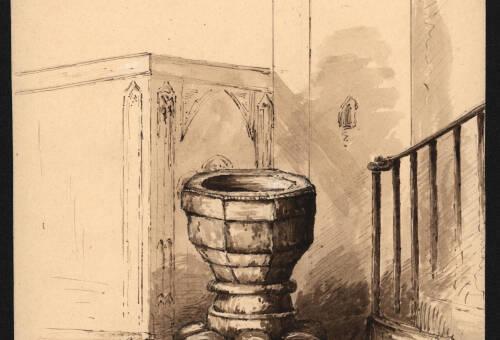 Font in Bishops Tawton Church, 1843, Bishops Tawton