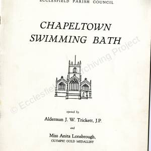 Chapeltown Swimming Baths - Brochure for its Opening in 1961 (front cover)