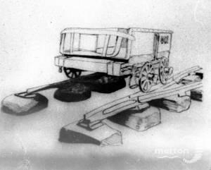 Drawing of wagon on the Surrey Iron Railway