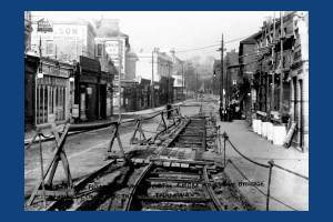 Wimbledon Hill Road, showing construction of the tramway.