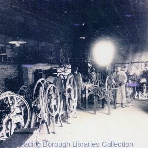 Chaff cutting machines being assembled at the Yield Hall Foundry of John Wilder in Yield Hall Lane, Reading, c1910