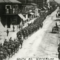 South Road, Waterloo - soldiers marching, 1914