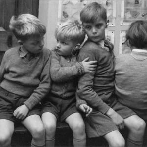 """414 - Four young hearing impaired boys sitting in a row """"No 4"""" Stop Shoving!!"""""""