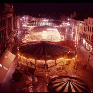 The May Fair at night in High Town, Hereford