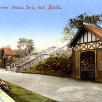 The Steps and Summer Houses, Derby Park, Bootle, 1908 (vintage postcard)