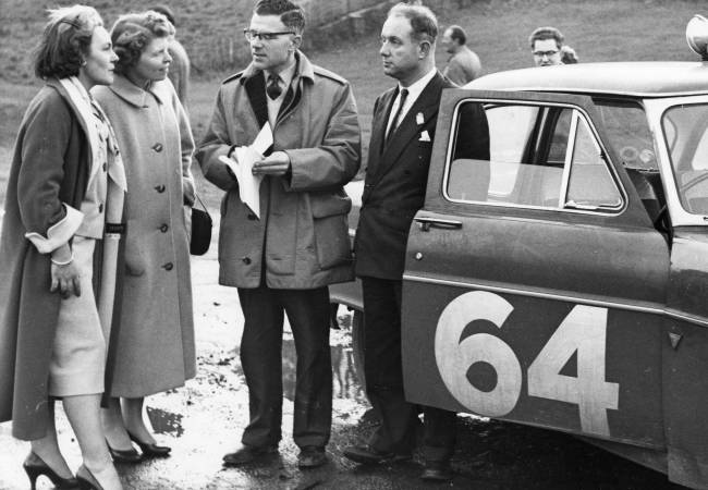 Colin Sproxton with his co-driver and Monte Carlo rally car.