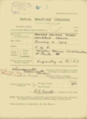 Edward Crouch -  RMC Form 18A Personal Detail Sheets Jan & Sept 1920 Intake