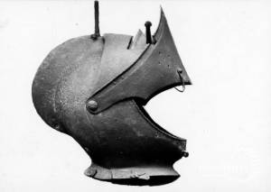 St.Mary's, Merton: Armorial helmet diaplayed in church