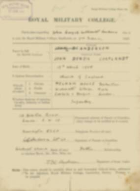 RMC Form 18A Personal Detail Sheets Feb & Aug 1923 Intake - page 1