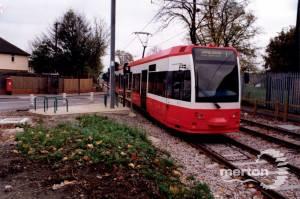 Tramlink Test Tram towards Wimbledon approaching Beddington Lane
