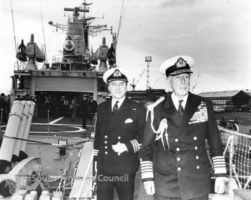 Admiral of the Fleet, Earl Mountbatten of Burma, onboard HMS Eurylaus.
