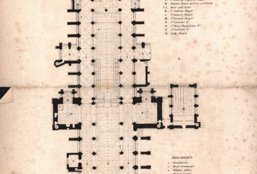 Plan of Exeter Cathedral, c1837, Exeter