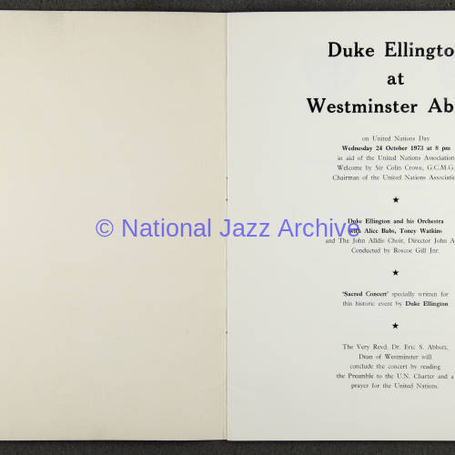 Duke Ellington Orchestra 'Sacred Concert' – Westminster  Abbey 24th   October 1973 005