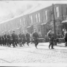 Military Cadets Marching to Londondery  Hall, Westoe