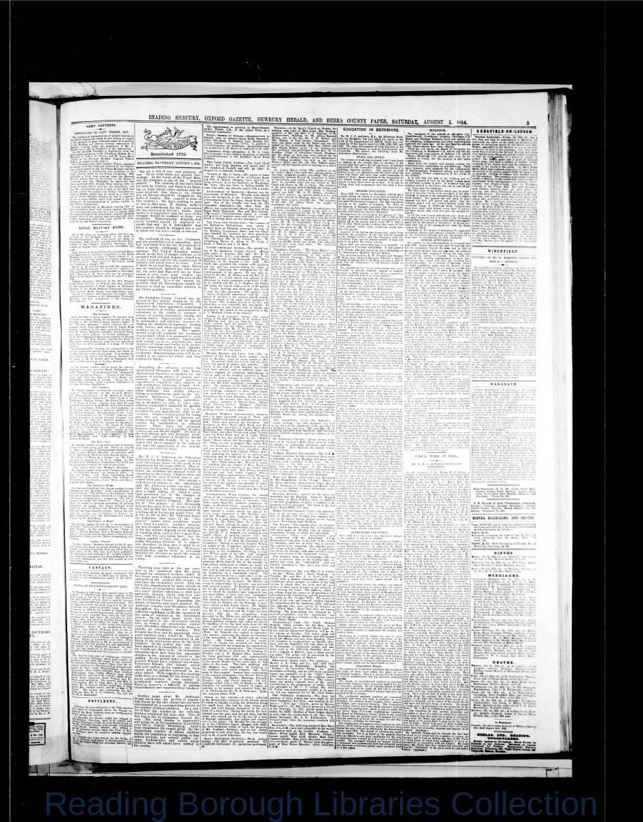 Reading Mercury Oxford Gazette Saturday , August 1, 1914. Pg 5