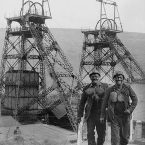 Welsh miners with headframes