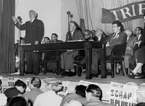 Aneurin Bevan speaking at Merton Public Hall.