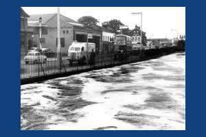 Merton High Street:  The Wandle in Flood