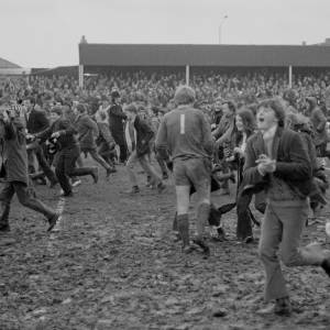 The fans celebrate Hereford United's 2–1 victory over Newcastle. February 5th 1972 at Edgar Street, Hereford.