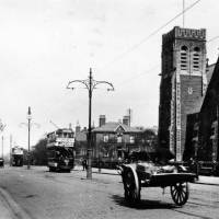Stanley Road & Emmanuel Church, Bootle, 1900s, with electrified tram in the distance