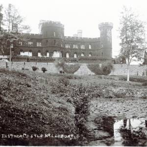Eastnor Castle, postcard view from lake