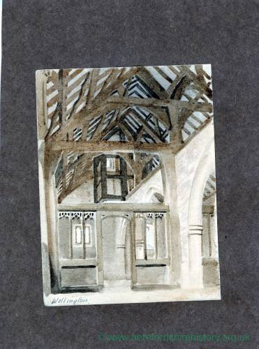 Wellington Church, Herefordshire, interior, print