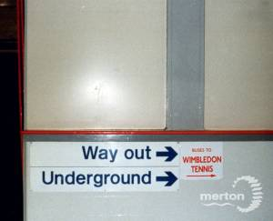 Sign for Wimbledon Underground Station