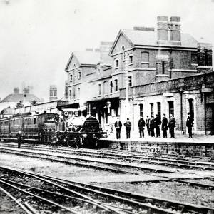 Steam train arriving at Barton Railway Station, Hereford, c.1860