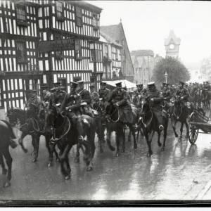 Military procession on horseback, High Street, Ledbury