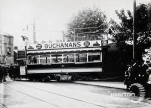 De-railed tram at Haydons Road, Wimbledon