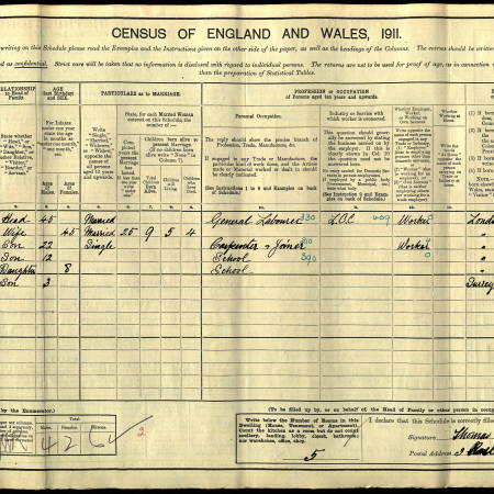 1911 Census for 3 Rostella Road, Tooting