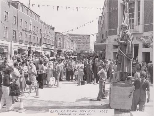 Earl of Devon returns to Bedford St, photograph, 1977, Exeter