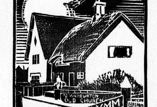Lino print of Old Warburton by Dorothea Rowlinson