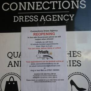 Connections Dress Agency Reopening notice, Ledbury