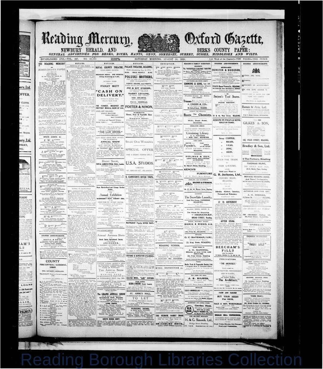 Reading Mercury Oxford Gazette Saturday, August 16, 1919. Pg 1