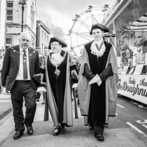 Mayor walking around May fair