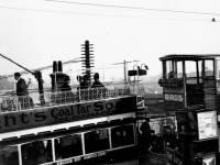 Trams passing over Wimbledon Bridge