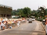 Spectators queue for the Wimbledon Tennis championships, Church Road, Wimbledon