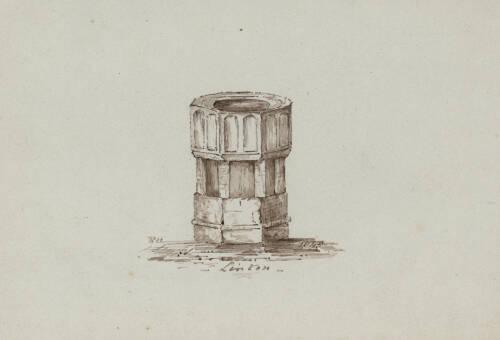 Font in Lynton Church, 1843, Lynton