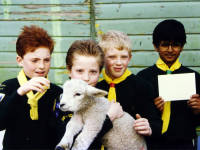 Deen City Farm, Church Road: Scouts with a lamb