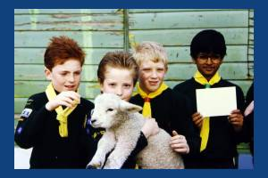 Deen City Farm, Church Road: Scouts with a lamb