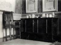 Eagle House, Wimbledon: Chest and chair in front hall