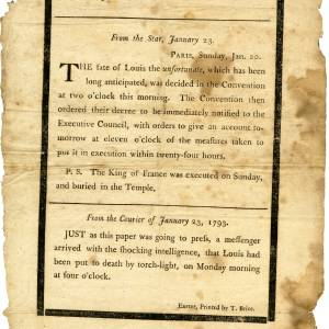 News-sheet,execution of Louis XVI, 1793