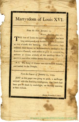 News-sheet,execution of Louis XVI, 1793